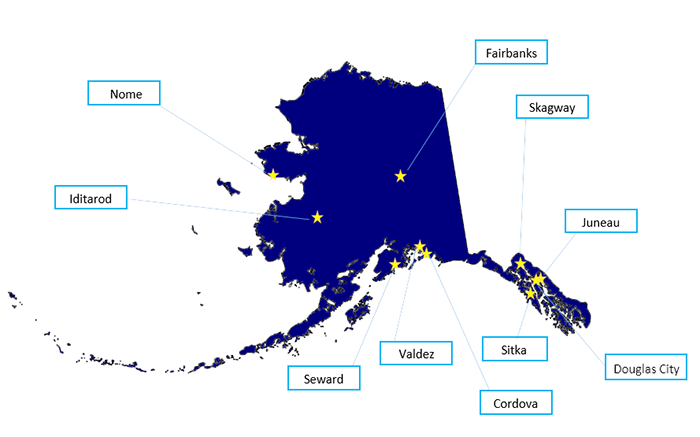 Map of Alaska: Towns with Digitized Newspapers